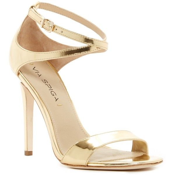 Via Spiga Tiara Metallic Heel Sandal ($130) ❤ liked on Polyvore featuring shoes, sandals, gold, high heel shoes, ankle strap sandals, leather heeled sandals, leather shoes and via spiga sandals