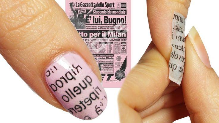 Come fare la Nail Art Giornale / Newspaper GAZZETTA ROSA!!