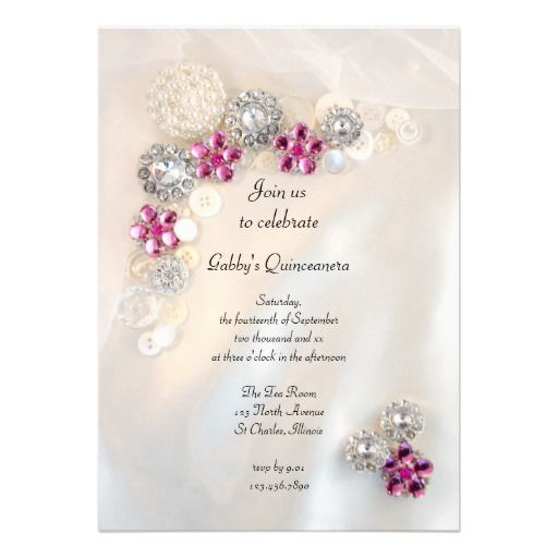 Pearls and Pink Diamond Buttons Quinceañera Party Card | Birthday party invitations, Satin and ...