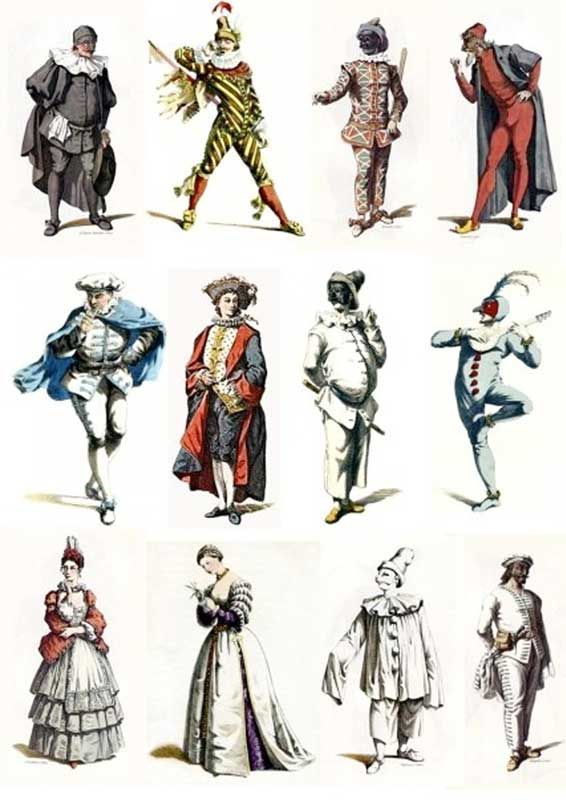 """Commedia dell'Arte character illustrations by Maurice Sand  who also wrote two books on the subject."""