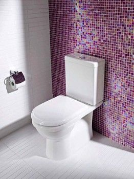 Small purple tile squares behind toilet dream home for Purple bathroom tiles ideas