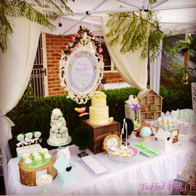 Enchanted Garden Baby shower styling we created with soft mint green and white colours  www.tickledpinkcelebrations.c.au
