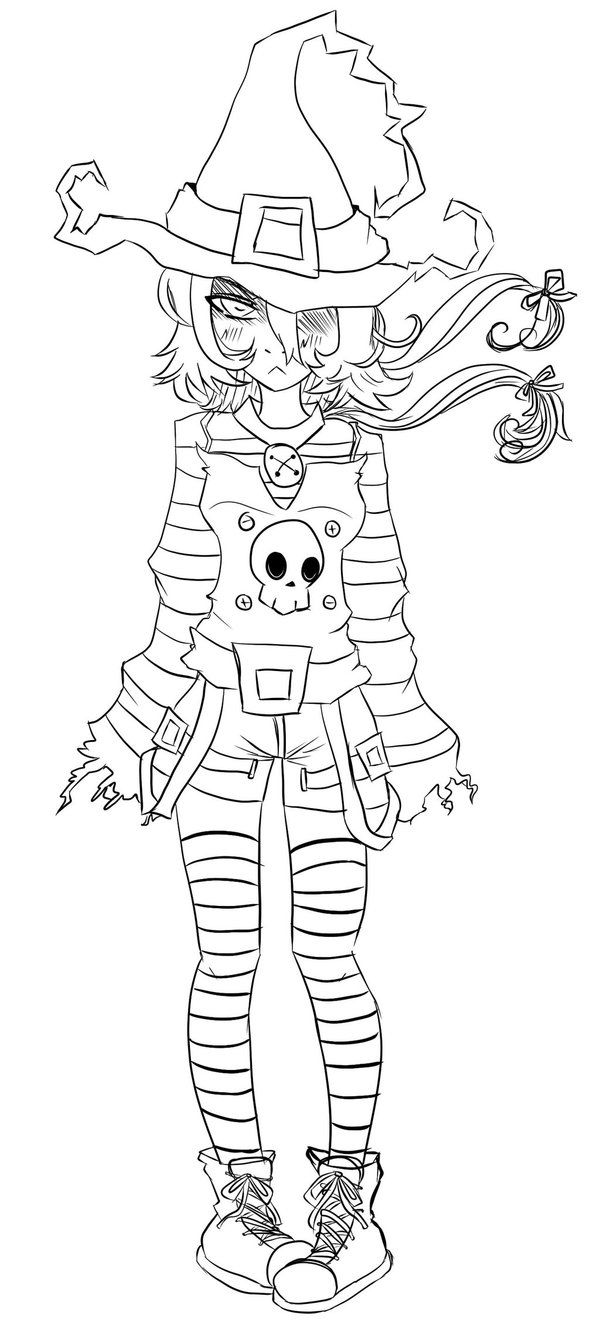 Halloween art therapy coloring pages - This Is Line Of A Little Witch I Drew In My Sketch Book