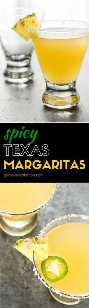 Nobody will mess with this recipe for a spicy Texas Margarita! Enjoy this twist on a traditional margarita with tequila, pineapple juice and a little spice from a jalapeno pepper!