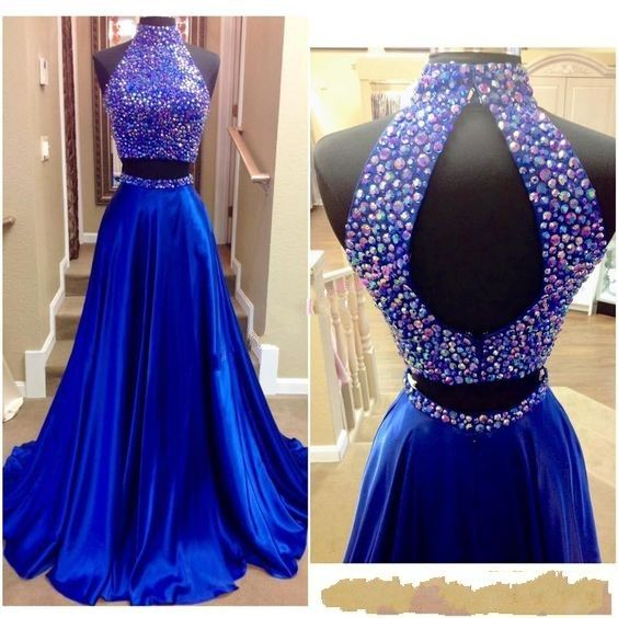 2016 Beaded Neck Prom Dresses, Two Pieces Prom Dress, Sexy Keyhole Back and Rhinestones Real Pictures High Neck Beaded Royal Blue Satin Two Pieces Prom Gowns