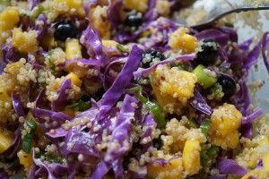 Himmelsk quinoa salat med mango og lilla spidskål samt en wasabi-lime marinade