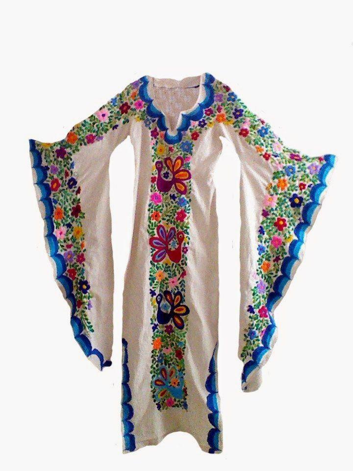 Lu Trejo Mexican Textiles : Mexican embroidered dress / Vestido bordado mexicano