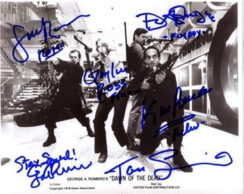 Dawn of the Dead (1978) movie photo 8x10 signed by Scott Reiniger (Roger), Ken Foree (Peter), David Emge (Stephen/Flyboy), Gaylen Ross (Francine), F/X guru Tom Savini & Directed by George A. Romero.