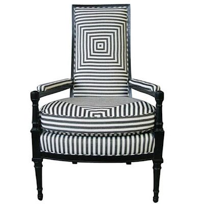 http://pinkwallpaper.blogspot.com/: Parisians Armchairs, Chairs Furniture, White Chairs, Black And White, Black White, Pink Wallpaper, Stripes Fabrics, 1930 S Armchairs, Fun Chairs