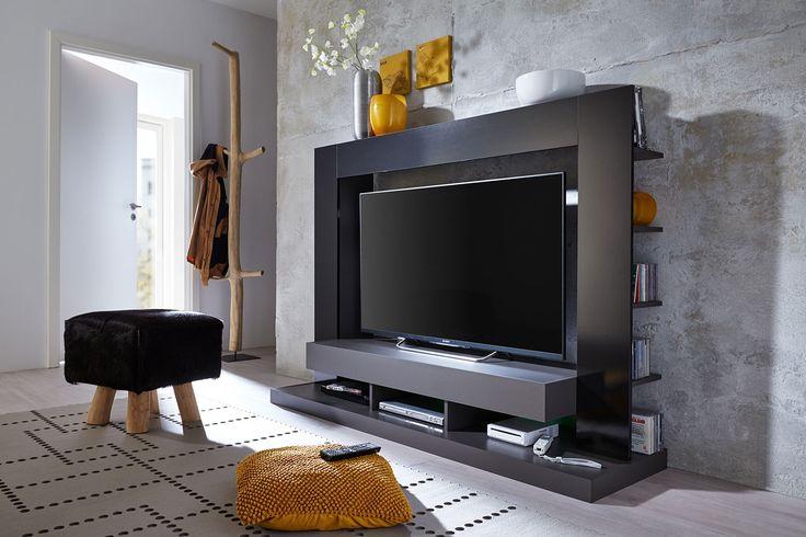 Medienwand TTX-05 in der Ausführung Schwarz Hochglanz und Grau Melamin. #trendteam #smartliving #wohnen #living #möbel #furniture