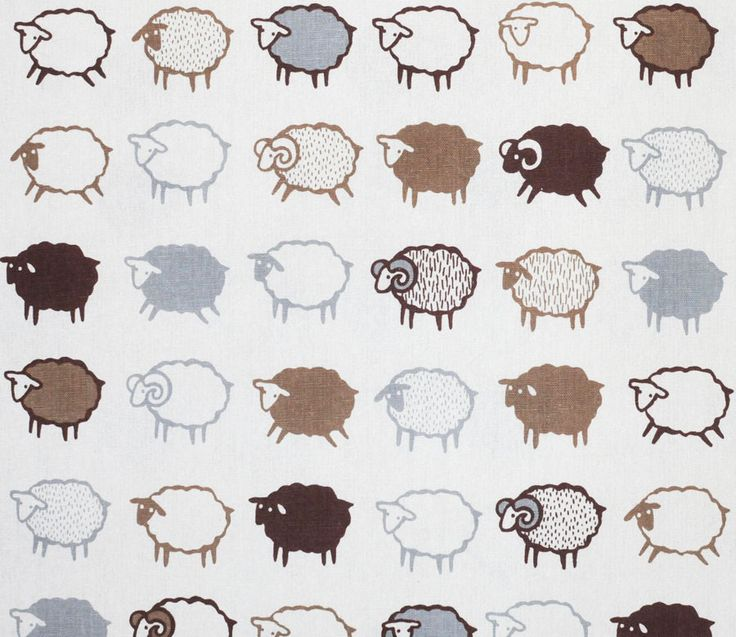 Baa Baa Black Sheep - Brown and White - Kiyohara | Fabric | Japanese Fabric | Maigo