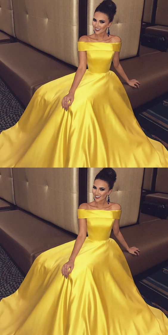 c87d5e689f Off The Shoulder Long Satin Gold Prom Dresses Ball Gowns 2018 M1114 ...