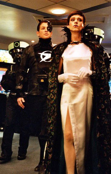Actor Mackenzie Crook (right) femulating in UK television's Blakes' Junction 7, 2005.