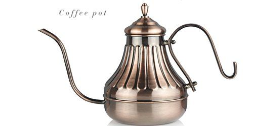 Pour Over Kettle  For Coffee  Tea Ergonomic Designed Drip Pot wGooseneck  Narrow Spout Gooseneck Stainless Steel Drip Pot for Coffee  Tea  Ideal wStovetop Gas IR Etc 450CC * Continue to the product at the image link.Note:It is affiliate link to Amazon.