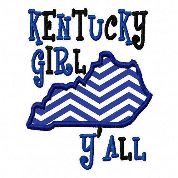 Kentucky Girl Y'all Applique Machine Embroidery Design 4x4 5x7 6x10 Kentucky Instant Download Basketball Football Softball Sports southern
