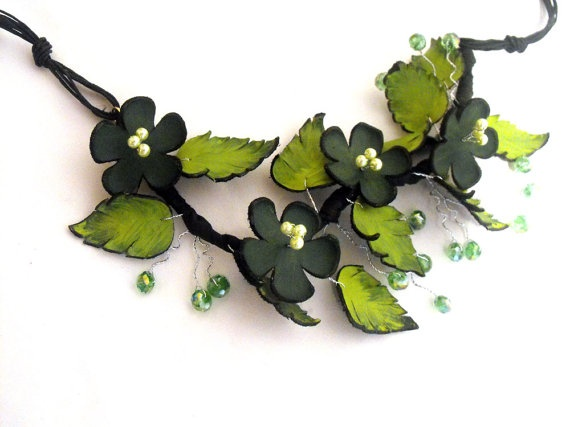 Statement necklace Branch leather necklace Green by julishland, $36.00