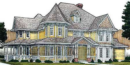 Glorious Queen Anne Victorian - 19201GT | 1st Floor Master Suite, Butler Walk-in Pantry, Den-Office-Library-Study, Jack & Jill Bath, MBR Sitting Area, Media-Game-Home Theater, PDF, Victorian, Wrap Around Porch | Architectural Designs