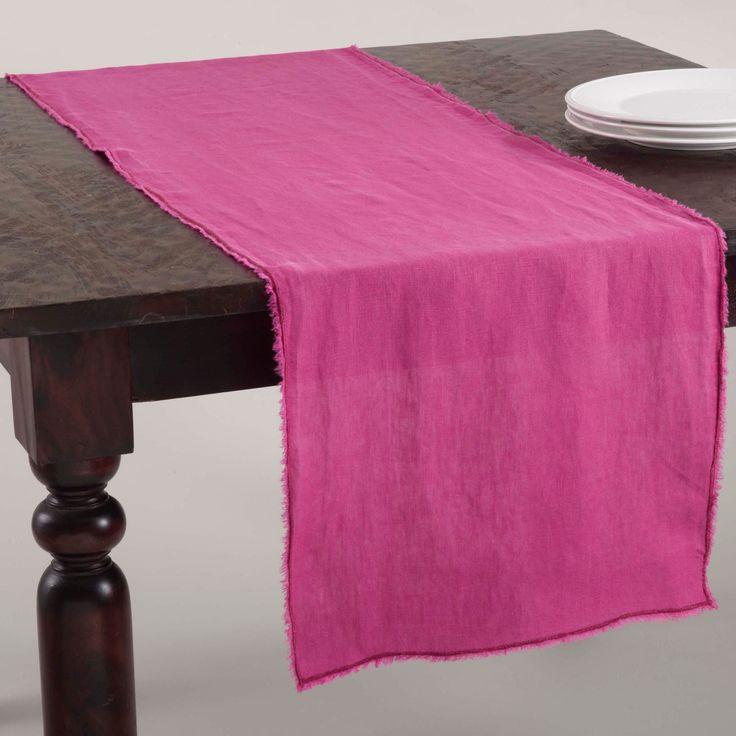 Saro Fringed Stone Washed Table Runner