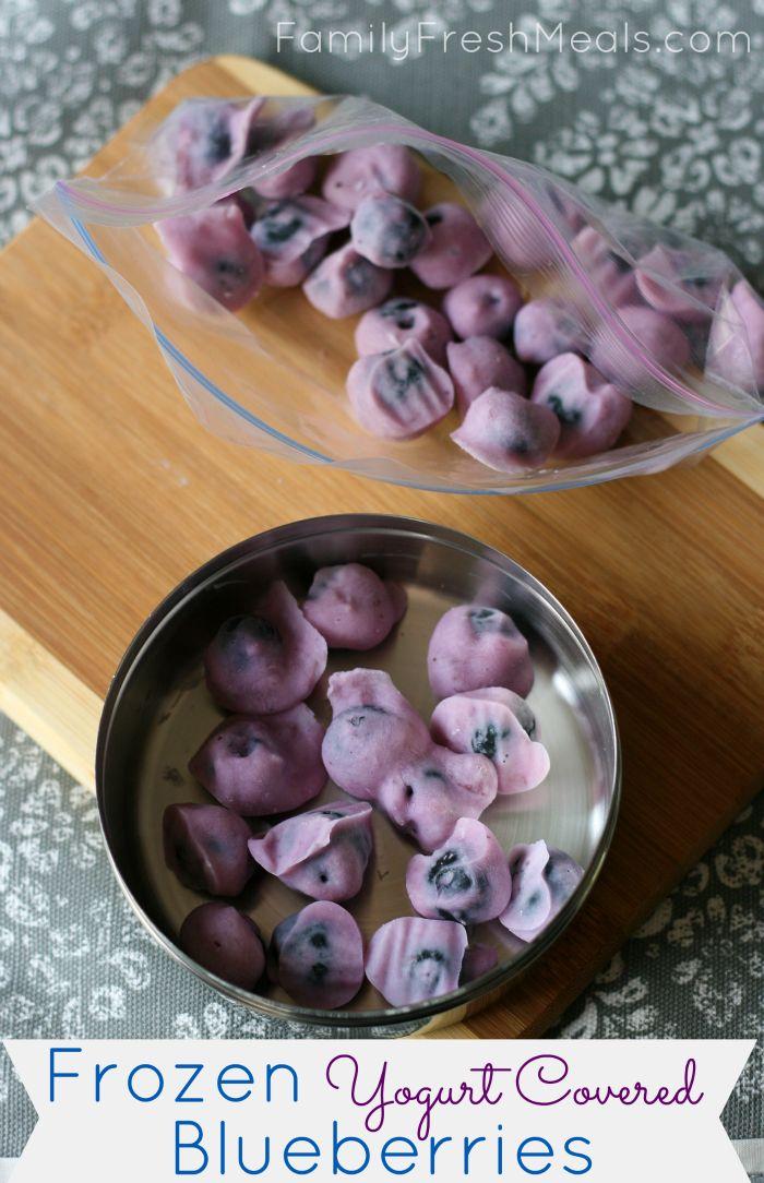 Frozen Yogurt Covered Blueberries -Summer snack! via Family Fresh Meals