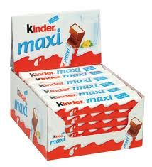 Kinder Maxi -suklaapatukat (n. 0,30-0,45€/kpl)
