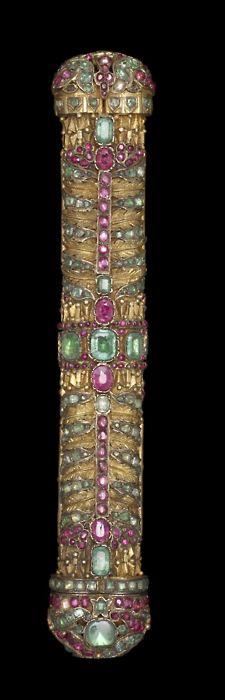 Penbox Turkish, 18th century Medium: gilt metal set with rubies, emeralds, and spinels