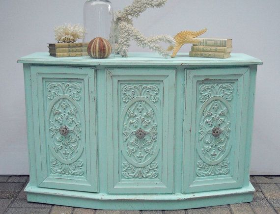 cottage shabby chic credenza buffet cabinet aqua blue beach seaside coastal table on etsy 575. Black Bedroom Furniture Sets. Home Design Ideas