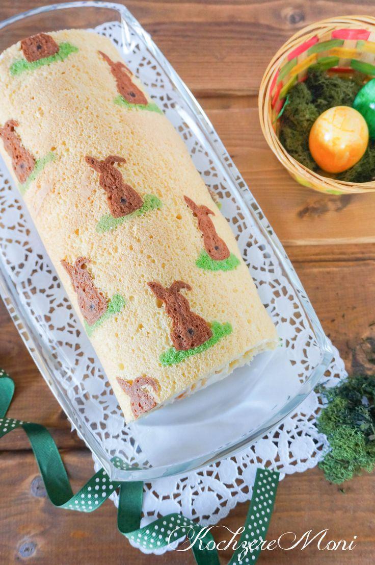 Osterhasen Biskuitrolle mit Mandarinen Quark Füllung
