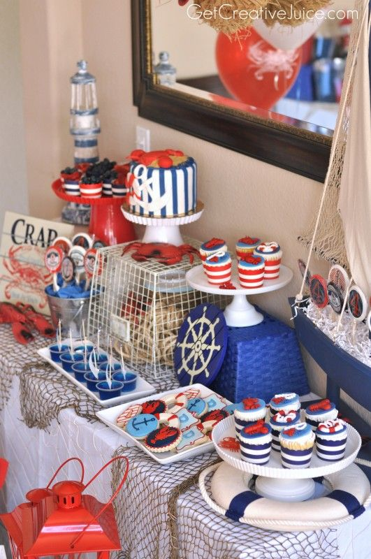Nautical Party - by Get Creative Juice |  Lots of pretty ideas for Nautical themed food and treats!