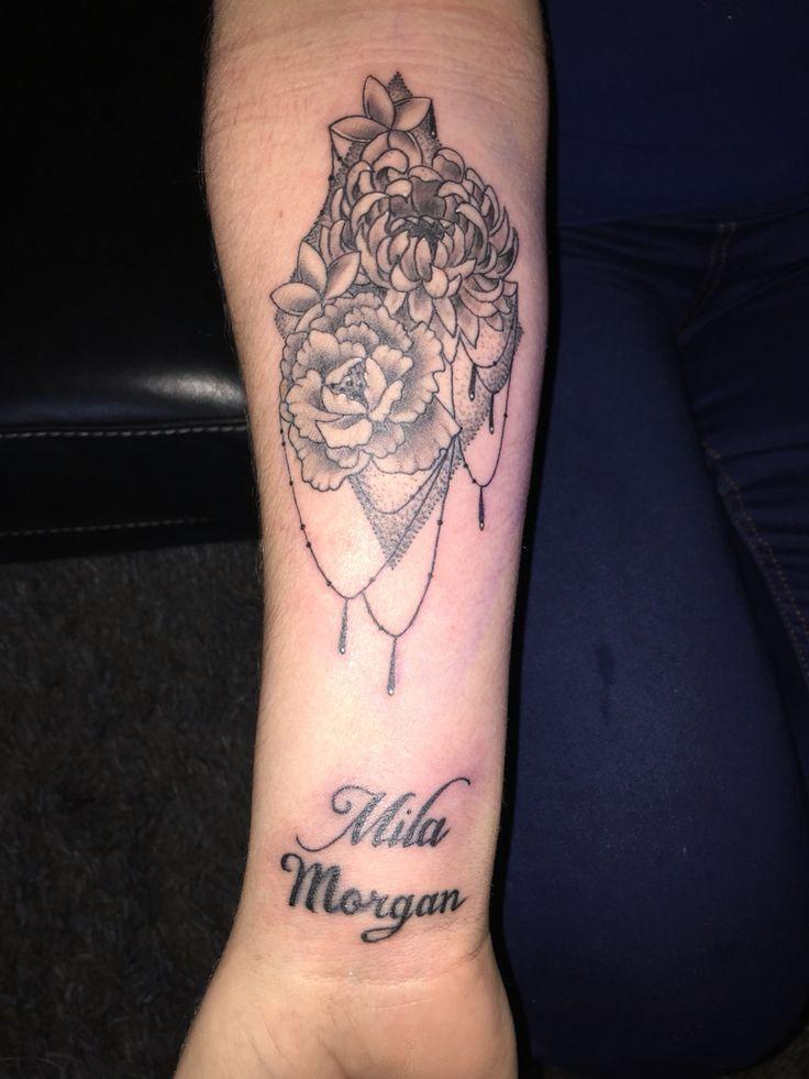 Tattoo birthday flowers Morgan chrysanthemum, Mila carnation, plumeria