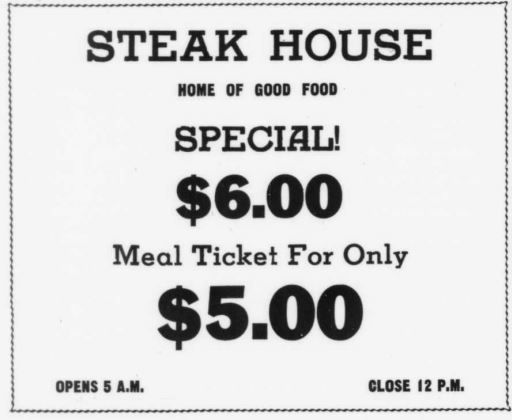 Steak House Restaurant - MTSU Sidelines 20 Sep 1950