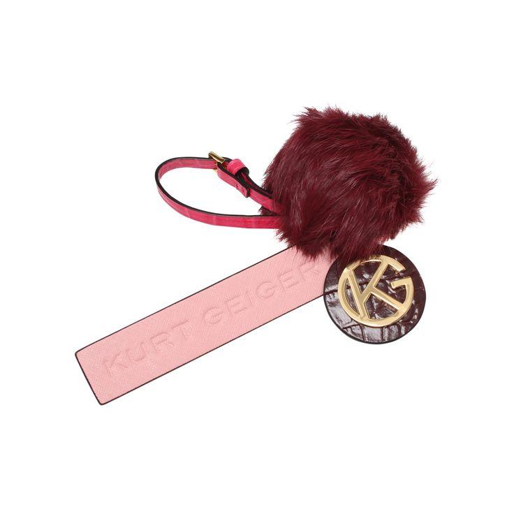 kg logo fur keyring pink keyring from Kurt Geiger London