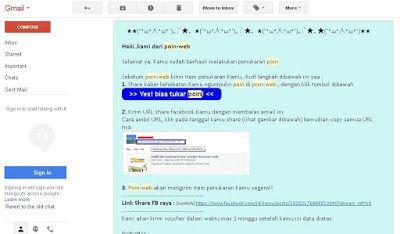 Email konfirmasi penukaran poin dari situs online survey PoinWeb | SurveiDibayar.com