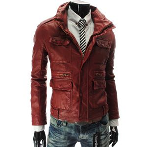 RED leather jacket, FOR MEN!! Yess !