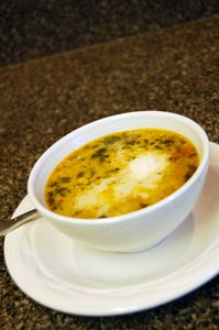 Tuscano Soup.  This is a once a month soup for our family, it is the BEST!  The kids gobble it and I love it too!