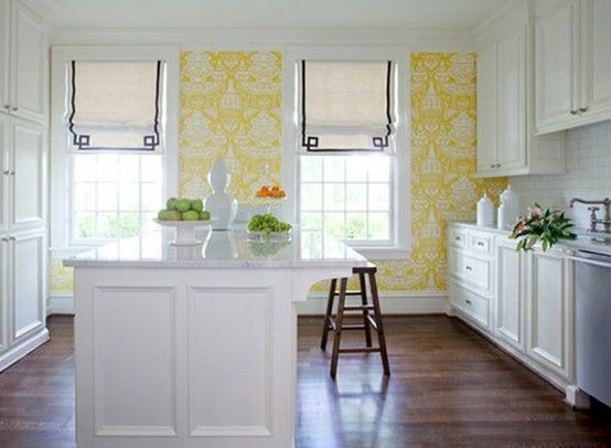 more yellow than I would do, but I still like the pop of color with the white, bright kitchen