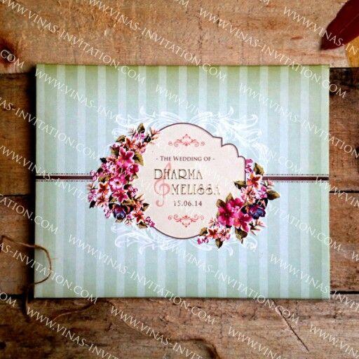 Stripes blue vintage wedding invitation
