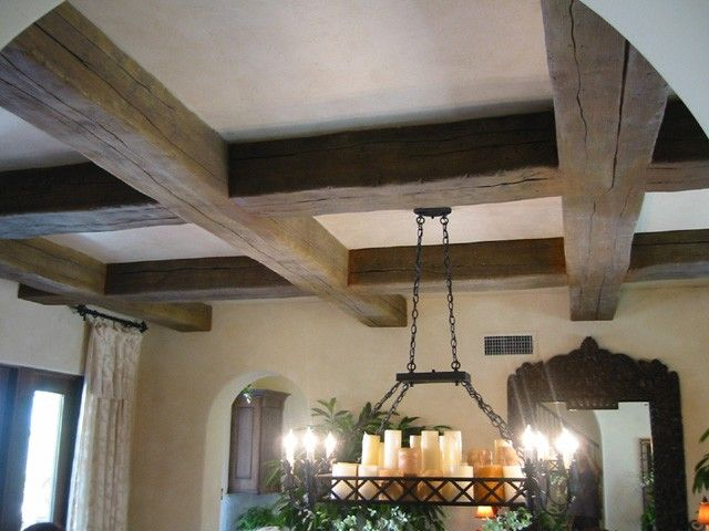 Faux wood beams vaulted wood beam ceiling pinterest for Fake wood beams for ceiling