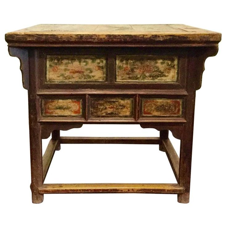 19th Century Chinese Square Kitchen Table, Walnut, Hand-Painted, Lotus Motif | 1stdibs.com