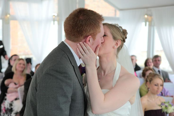 The first kiss at a wedding