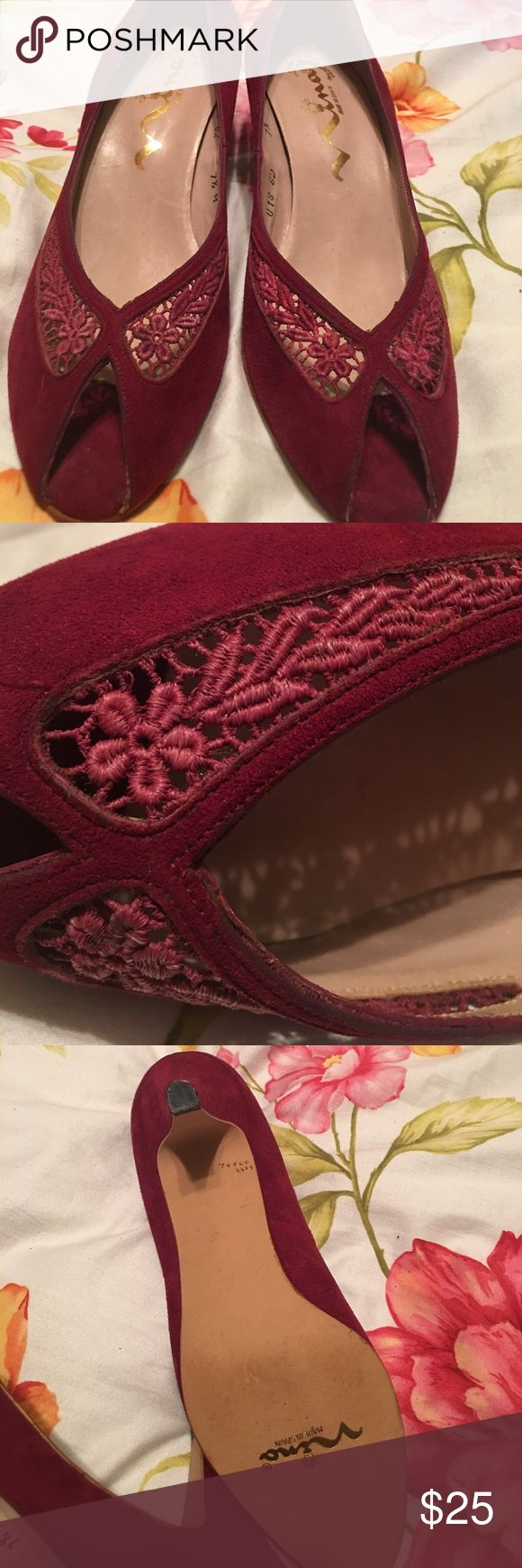 Nina shoes Size 7 1/2.  Dark pink, with lace inserts of a lighter pink. Leather upper Nina Shoes Heels