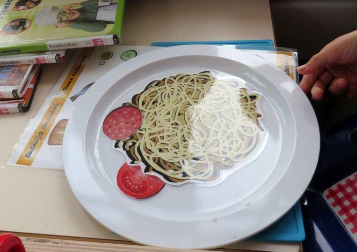 Print het spagettiwerkblad en lamineer het, thema restaurant, kleuteridee.nl