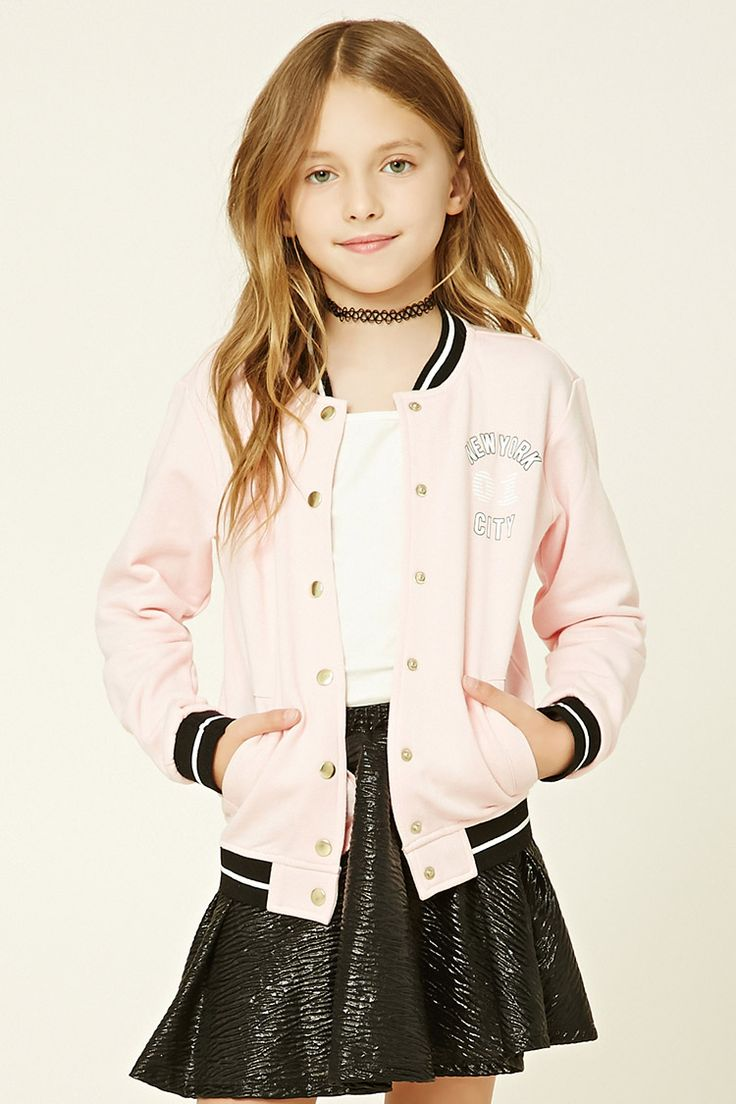 "Forever 21 Girls - A knit jacket featuring a button-front, two front slit pockets, contrast ribbed trim, A French terry lining, and a ""New York City 01"" graphic."