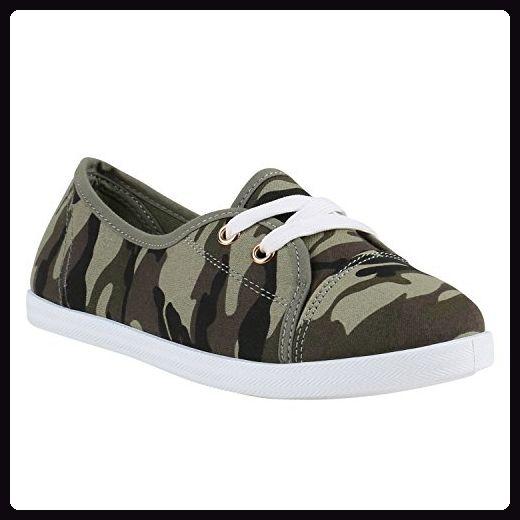 Damen Sneakers Bequeme Slipper Lochung Ballerinas Camouflage Denim Schnürer Gesteppt Flats Schuhe 141312 Camouflage Weiss 40 | Flandell® - Sneakers für frauen (*Partner-Link)