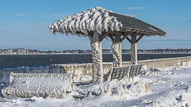 Summer shelter along Wollaston Beach in Quincy is like an ice box on Saturday, Jan. 31, 2015.