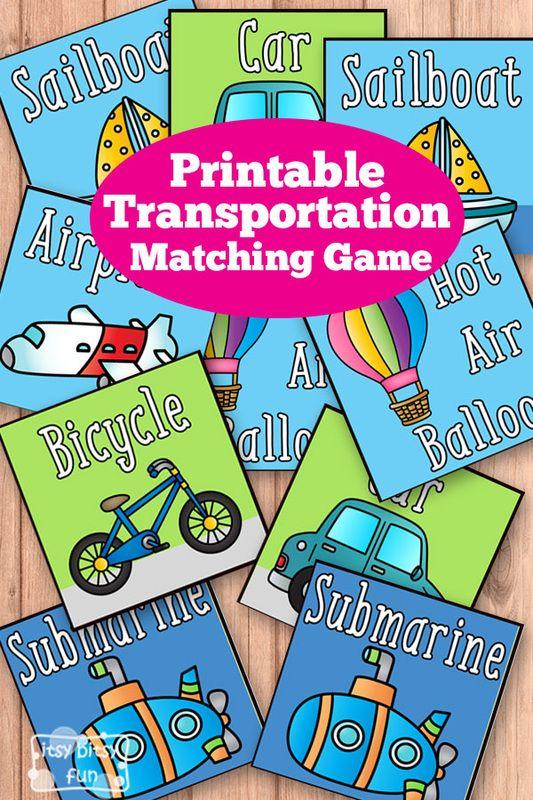 Free Printable Transportation Memory Game - Matching Games for Kids