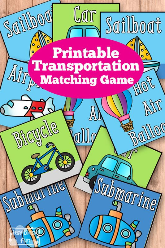 Free Printable Transportation Memory Game - Matching Games for Kids