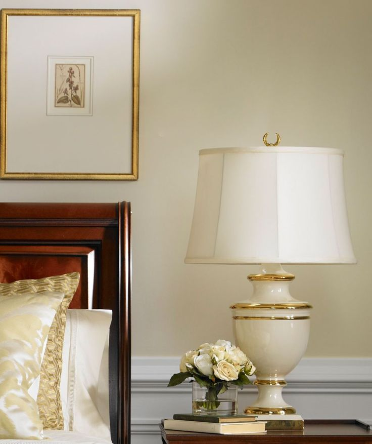 Picture w/gold frame Our urn-style Veronica table lamp with gold banding deserves glowing reviews.