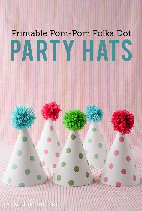Printable Pom Pom Polka Dot Party Hats on polkadotchair.com. Free printable for these adorable polka dot hats.