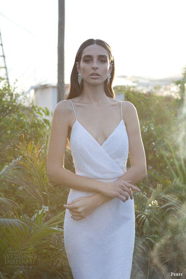 persy bridal spring 2015 haute couture wedding dress sleeveless surplice neckline spagetti straps