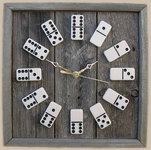 Very cool!!!! ...... Upcycled Game Clocks - Decorate with Rustic Looking Domino Clocks